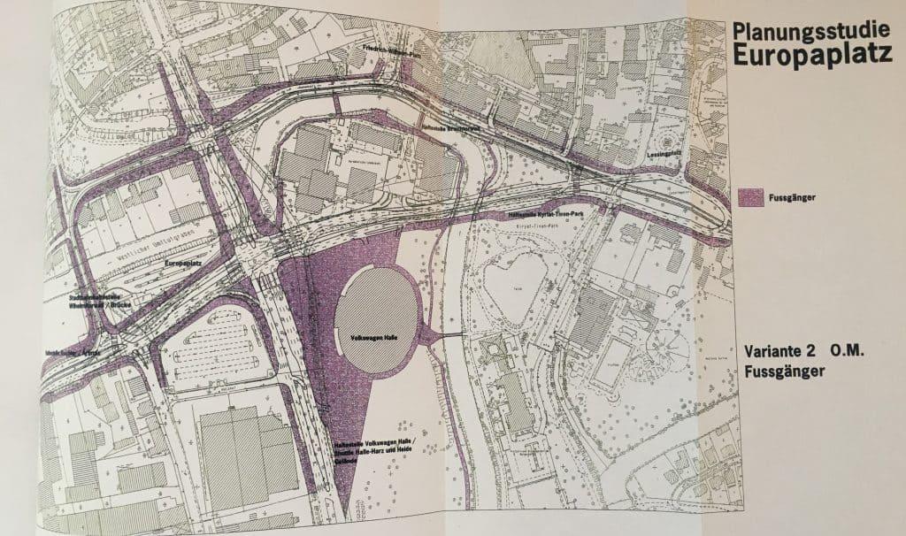 Dieser Plan zeigt die mögliche Fläche für Fußgänger nach entsprechender Umgestaltung. Foto: Der Löwe