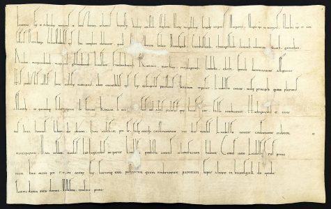 """Die Ersterwähnung Braunschweigs als """"Brunesguik"""" in der Weiheurkunde der Magnikirche aus dem Jahre 1031. Foto: Stadtarchiv"""