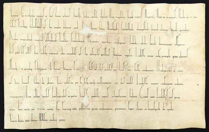 """Die Ersterwähnung Braunschweigs als """"Brunesguik"""" in der Weiheurkunde der Magnikirche aus dem Jahre 1031. Foto: Wikipedia"""