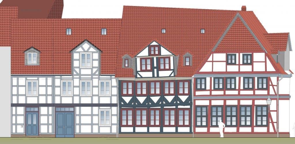 Ansicht der geplanten Sanierung Ölschlägern (rechts die Seite des Gebäudes Ackerhof 2). Illustration: Delta Bauplanung GmbH