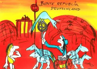 """Aquarell """"Bunte Republik Deutschland"""" von Udo Lindenberg. Foto: Stiftung Prüsse"""