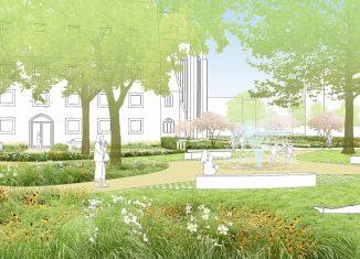 Ein erster Entwurf des Planungsbüros für den Pocketpark an der Kannengießerstraße, hier mit Blick vom heutigen Parkplatz in Richtung Theologisches Zentrum und Brüdernkirche. Foto: LEVIN MONSIGNY LANDSCHAFTSARCHITEKTEN GMBH