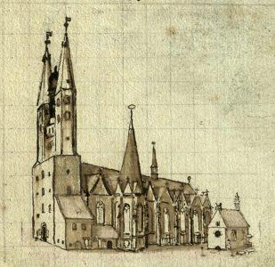 St. Martini mit Friedhofskapelle vor 1750. Kupferstich von Anton August Beck. Foto: Stadtarchiv