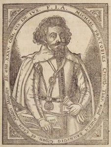 Michael Praetorius. Kupferstich von 1606.