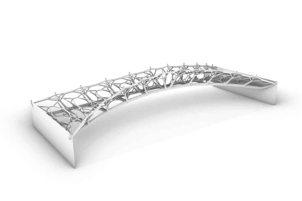 """Entwurf einer auf dem Prinzip der """"Injection 3D Concrete Printing Technologie"""" basierenden Brücke – in Zusammenarbeit mit Pieluigi D'Acunto und Ole Ohlbrock. Foto: ITE/TU Braunschweig"""